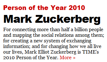 mark zuckerberg person of the year 2010 - Time